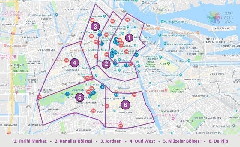 Amsterdam'da konaklama yapılacak bölgeler otel tavsiyeleri