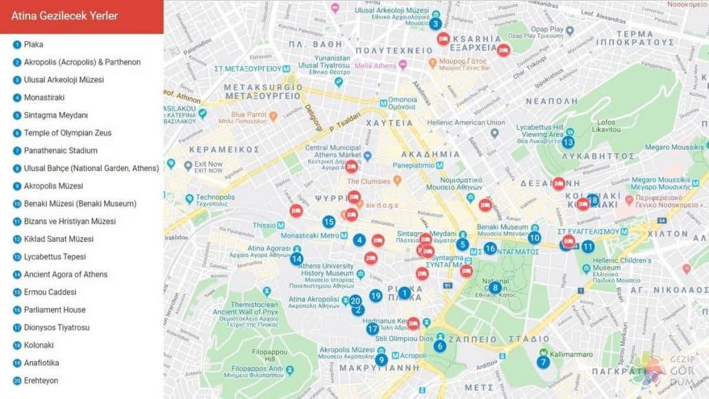 Atina gezilecek yerler harita konumları, Atina haritası